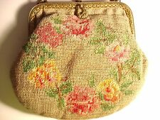 Vtg Needlepoint Floral Pink Roses Small Evening Handbag Brass Frame / Chain~VGC