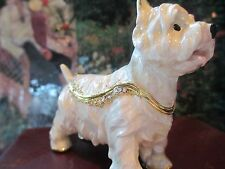 WEST HIGHLAND TERRIER ~  BEJEWELED ENAMEL TRINKET BOX  #3811