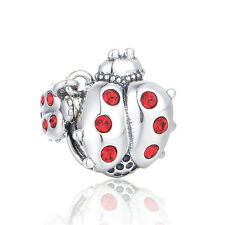SC Ladybird charm. 925 Sterling silver Red crystals. GIFT PACKING included