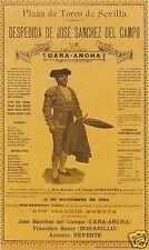 """Bullfighting Poster 1894 Sevilla Seville Spain Cartel Despedida, Reprint 12x7"""""""