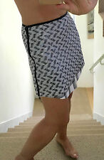 BETINA Grey Black White Pailette Shirt Hem Mini Skirt UK10
