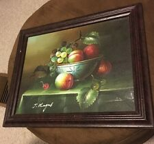 """Vintage Oil Painting Still life By J. Magus 11""""x10"""" Framed"""