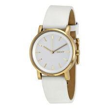 DKNY Soho White Pearlized Dial White Leather Strap 34mm Ladies Watch NY2340