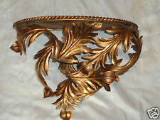 VINTAGE ITALIAN ROCOCO GOLD GILT ACANTHUS LEAVES METAL HANGING SHELF