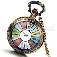 Vintage Bronze Steampunk Wheel Rome Quartz Pocket Watch Pendant Chain Necklace