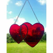 Handmade Stained Glass Love Heart Link Suncatcher, Tiffany, Red Glass Gifts