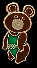 Olympic Pin Badge~Moscow~1980~Russian~Misha~Bear~gold tone outline~green suit