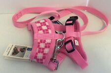 Dog Harness XS Pink Argyle With Leash Yorkie Chihuahua Tiny Dog
