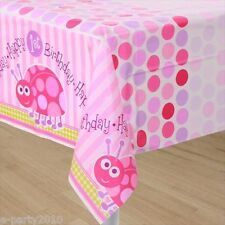 LADYBUG 1st BIRTHDAY GIRL PLASTIC TABLE COVER ~ First Party Supplies Decorations