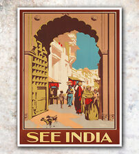 "Vintage Travel Poster Art See India Print 11x14""  Rare Hot New A234"