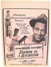 """Window Flyer for 1950 Movie """"Father is a Bachelor"""" William Holden & Colleen Gray"""