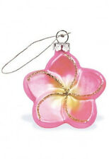 Hawaiian PINK PLUMERIA FLOWER  CHRISTMAS ORNAMENT Hawaii New NIB Golden Glitters