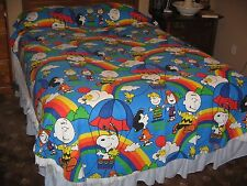 RARE VINTAGE 1960's PEANUTS- CHARLIE BROWN- SNOOPY- LUCY-TWIN BEDSPREAD-70 X106