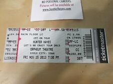 Hunter Hayes Let's Be Crazy Tour 2013 Meet & Greet Directions & Used Stub