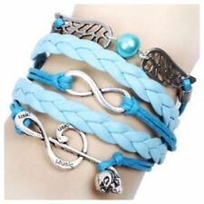 D28 Blue Silver Music Note Skull Angel Wing Infinity Leather Wrap Bracelet