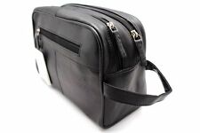 Black Leather Toiletry Shaving Kit / Travel Makeup Pouch Twin Compartment  JTC