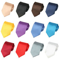 Men Classic 8cm Wide Satin Necktie Solid Color Smooth Party Formal Tie BWTSH0062