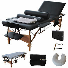 "3 Fold 84""L Massage Table Facial Bed Portable  W/2 Bolster+Sheet+Cradle Cover"