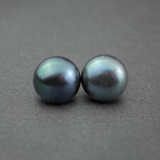 Boucles d`Oreilles Clous Perle Culture Plat Argent 925 Noir Gris Bleu 6mm-7mm T1