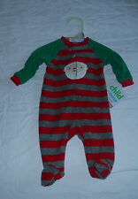 Striped Santa Sleeper, Onesie, Newborn, long sleeves