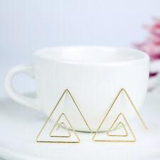 Women Simple Triangle Twisted Swirl Threader Ear Stud Earrings Fashion Jewelry