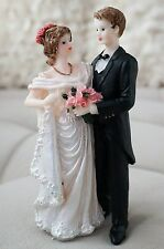 Beautiful! Vintage Bride and Groom Cake Topper Romantic Drapped Wedding Dress