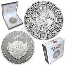 ::RARE:: Palau 1 Dollar 2013 KNIGHTS TEMPLAR coin Antique Finish + Coa + BOX