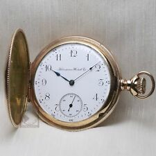 Gold 1904 HAMPDEN 15 Jewel Full Hunter Pocket Watch 16s Mechanical Antique USA