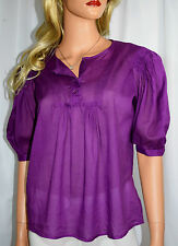 SEE BY CHLOE Violet Pleated Puffy Sleeve Blouse Top Size US 6