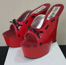 Rote High Heels Platform Wedges
