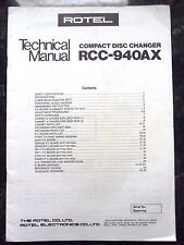 ROTEL TECHNICAL (service) MANUAL for RCC-940AX Compact Disc / CD Changer