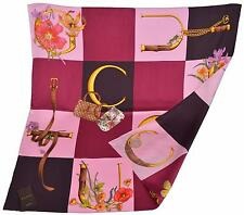 New Gucci Butterflies Handbags Horsebit Pattern Burgundy Silk Twill Square Scarf