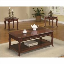 Coaster 3 Piece Occasional Table Set with Parquet Top Wood Medium Wood in Cherry