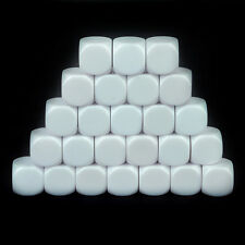 25Pcs Blank White Dice / Counting Cubes 16mm D6 Square RPG Gaming Dice DIY
