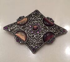 Gorgeous Broach! Silver - Diamond Shaped With Stones In Shades Of Purple