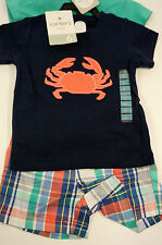 Carter's Carters NEW Boys 3 Piece Set T-Shirt Shorts & Short Sleeve Vest Cotton