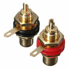 2pcs Gold Plated RCA Panel Mount Chassis Socket Phono Female Connector Set JYP