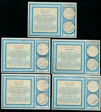 INDIA 1974 REPLY PAID COUPONS IRCs REDEEMED 1978...5 ITEMS