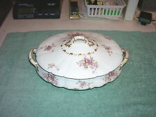 VINTAGE CH FIELD HAVILAND LIMOGES GDA PINK ROSES COVERED OVAL VEGETABLE BOWL
