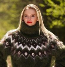 SUPERTANYA GREEN Hand Knitted Mohair Sweater Icelandic Fuzzy Turtleneck Pullover