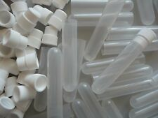 250 Count 16 x 75mm Plastic Test Tubes With White Caps, Frosted/Clear, New