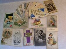PRE-LINEN EASTER GREETINGS! 27 POSTCARD LOT EMBOSSED+ 1900's UP  100 YRS OLD i