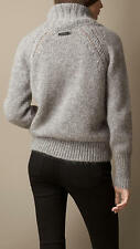 595 New BURBERRY BRIT Mohair Sweater,S,Logo,Shawl Collar,Brushed,Pale Grey,NWT