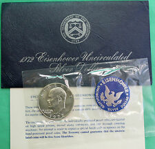 1972 S SILVER Ike Dollar Blue Eisenhower BU 40% Silver Coin & US Mint Envelope#R