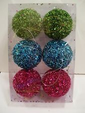 6 GREEN TURQUOISE HOT PINK BEAD & SEQUINS FANCY CHRISTMAS ORNAMENTS DECORATION