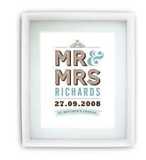 Personalised name print picture Wedding Anniversary Vintage A4 ready to frame