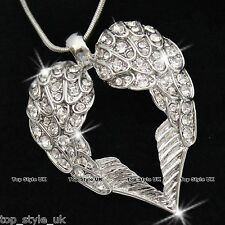 18K White Gold Angel Wings Heart Necklace Crystal Diamond Gifts for Her Girls C3