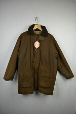 VINTAGE Mens BURBERRY Jacket Coat OUTDOOR WAX Medium BROWN Quilted Zipper RL1DN