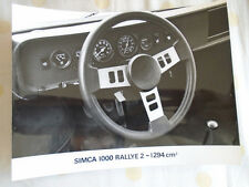 Simca 1000 Rallye 2 - 1294cm press photo brochure c1976 dashboard