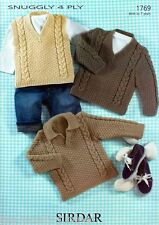 1769 - SIRDAR SNUGGLY 4 PLY SWEATERS & TANK TOP KNITTING PATTERN - 0 TO 7 YEARS